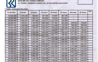 Tabel Angsuran KTA Bank BRI